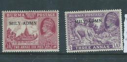 Burma GVIR, 1945, Military Administration, 2 1/2 A, 3a, MH * - Burma (...-1947)