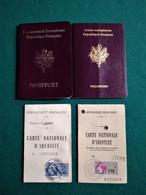 Passport France + ID Lot 4 Same Person, Pasaporte, Passeport, Reisepass - Documentos Históricos