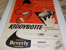 ANCIENNE PUBLICITE CHAUSSURE BRAVO BABYBOTTE DE BEVERLY 1957 - Otros