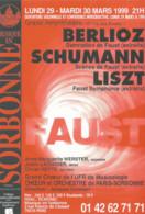 F88 / CARTE CPM Publicitaire PUB  Card Cart'com PUBLICITE Théâtre BERLIOZ Schumann Liszt SORBONNE 1999 Musique - Muziek En Musicus
