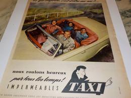 ANCIENNE PUBLICITE IMPERMEABLES TAXI  1957 - Otros