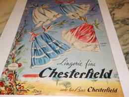 ANCIENNE PUBLICITE LINGERIE CHESTERFIELD  1957 - Otros