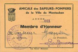 AMICALE DES SAPEURS POMPIERS DE MONTAUBAN MEMBRE D'HONNEUR 1953 MR JANIN  FORMAT 12.50 X 8 CM - Other