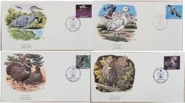 A) 1986, CANADA, BIRDS, SNOWGOOSE, BLUE HERON, CANADA GROUSE, FDC, SERIES OF 4, XF - Cartas