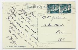 GANDON 2FR PAIRE CARTE CHAMONIX 2.1.1947  AU TARIF 3FR80 MENTION 1.1.1947 AU TARIF DU 1.1.1947 - 1945-54 Marianne (Gandon)