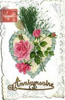 Carte Ajouitis Anniversaire Coueyr De Myosotis Roses  Feuillage Decor Broderies  RV - Birthday