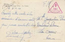 CPA - FM -CACHET DE CENSURE 2355 TRIANGLE CROIX DE LORRAINE 1944 POUR LA CRAU VAR - Guerra Del 1939-45