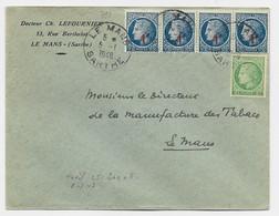 MAZELIN 2FR + N° 791 BANDE DE 4 LETTRE LE MANS 5.1.1948  AU TARIF - 1945-47 Ceres De Mazelin