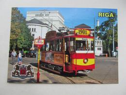 Latvia Riga Retro Tram In Red And Yellow Colours Modern PC - Tranvía