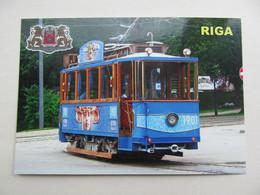 Latvia Riga Retro Tram In Blue Colours Modern PC - Tranvía