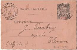 INDOCHINE - CARTE LETTRE DE CHOLON A DESTINATION DE TLEMCEN - ALGERIE - Briefe U. Dokumente