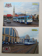 2 PCs Latvia Riga Trams Modern PC Church Market - Tranvía