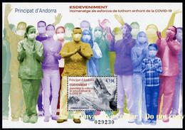 ANDORRA / ANDORRE (2021) Mint Sheet Feuille COVID-19 Gràcies Homenatge Esforços Tothom, Pandemic, Thanks Health Workers - Ongebruikt