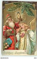 N°15432 - Carte Gaufrée - Christmas Greetings - Père Noël Et Ange - Santa Claus