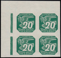 Böhmen Und Mähren 123 Zeitungsmarke 20 H Eckrand-Viererblock Oben Links ** - Occupation 1938-45