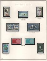 Feuillet D'album 9 Timbres Commémoratifs Neufs 1969-1970 Mouflon Le Redoutable Normandie-Niémen Hand-ball Flamant Rose - Unused Stamps
