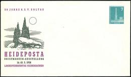 Soltau 1958 (Mai) PU 7 Pf. Funkturm: HEIDEPOSTA.. = Prähistor. Steingrab , Ungebr. (Berlin Mi.PU 15/15) - FRÜH- & VORGES - Prehistoria