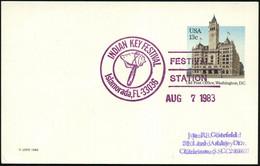 U.S.A. 1983 (7.8.) Viol. SSt.: Islamorada, FL-33036/INDIAN KEY FESTIVAL/FESTVAL/STATION = Prähistor. Steinaxt , Klar Ges - Prehistoria