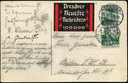 "DEUTSCHES REICH 1911 (26.11.) 5 Pf. Germania U. Reklame-Zierfeld ""SATRAP""- Foto-Papiere, Gr. Kopf = Fa. Schering-Kahlbau - Egiptología"