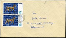 """D.D.R. 1966 10 Pf. """"Stier-Mosaik, Ischtar-Tor"""" , Babylon 580 V.u.Z , Reine MeF: Paar , Klar Gest. Inl.-Bf. (Mi.1229 MeF) - Egiptología"""