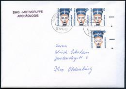 BERLIN 1989 (17.1.) 20 Pf. Nofretete, Reine MeF: Rand-3er-Streifen  U N D   Randstück Aus  B O G E N ! , Sauber Gest. (2 - Egiptología