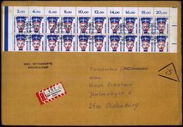 BERLIN 1989 (16.1.) 20 Pf. Nofretete, Reine MeF = Bogen-Rand-20er-Block, Keine übliche Rollenmarke!! , Klar Gest. + RZ:  - Egiptología