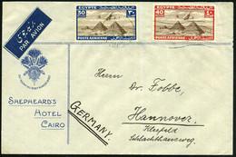"""ÄGYPTEN 1938 (11.4.) 20 M. U. 50 M. """"Pyramiden Von Gizeh"""" , Satzreine Frankatur (mit Cheops-Pyramide) Dekorat. Zierumsch - Egiptología"""