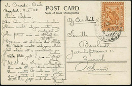 """IRAK 1928 (4.2.) 2 A. """"Geflügeltes Pferd"""", Braun , EF = Dekor Des Königs Assurnasirpal II. , Sauber Gest. Übersee-Ak.  ( - Egiptología"""
