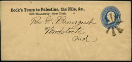 U.S.A. 1874 Privat-Zeitungsstreifband 1 C. Franklin, Blau: Cook's Tour To Palestine, The Nile & C. (stummer Stempel New  - Egiptología