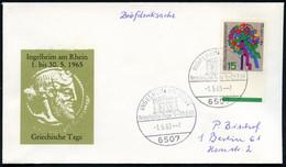 """6507 INGELHEIM AM RHEIN/ Griechische Tage.. 1965 (1.5.) SSt = Altgriech. Tempel """"Parthenon"""" Auf Passendem SU. (Dionysos- - Arqueología"""