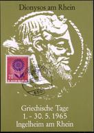 """6507 INGELHEIM (RHEIN)/ Griechische Tage 1965 (1.5.) SSt = Griech. Tempel """"Parthenon"""" Vs. Auf Programmzettel: """"Dionysos  - Arqueología"""