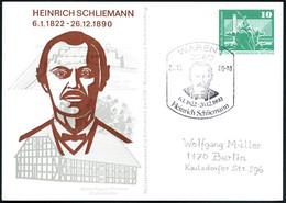 2060 WAREN 1/ 6.1.1822 - 26.12.1890/ Heinr.Schliemann 1980 (20.12.) SSt = Kopfbild Schliemann Auf PP 10 Pf. PdR, Grün: H - Arqueología