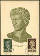 """SAAR 1956 (25.7.) Olympiade, Kompl. Satz = Büste """"Sieger Von Benevent"""" (Louvre) 2x ET-SSt.: SAARBRÜCKEN 2/b/Ersttag (Mi. - Arqueología"""