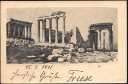 GRIECHENLAND 1901 (3.7.) 5 L. BiP Hermes, Oliv: Ruinen Der Akropolis (?) + Zusatzfrank. 5 L. Hermes (Mi.128), Klar Gest. - Arqueología