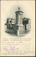 GRIECHENLAND 1919 (18.1.) 10 L. BiP Hermes, Rot + 10 L. Blinddruck: ATHENES - LE MONUMENT DE LYSICRATE , Sauber Gest. Au - Arqueología