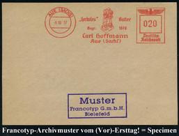 "AUE (SACHS)/ ""Herkules"" Gatter/ Gegr.1878/ Carl Hoffmann.. 1937 (9.10.) AFS Francotyp Musterabdruck ""Reichsadler"" (Abb.: - Mitología"
