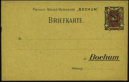 """Bochum 1887 """"Privat-Brief-Verkehr"""" 2 Pf. Orts-P """"Merkur"""" Rot/schw. (gelbl. Karton, Buntgefasert) Ungebr. (ME.P 6 B) - GR - Mitología"""