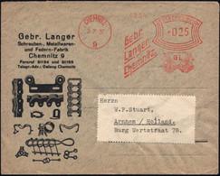 CHEMNITZ/ 9/ Gebr./ Langer 1937 (Juli) Seltener AFS-Typ 025 Pf. = 2 Kräfte Messende Titanen (auf 2 Globen) Reklame-Ausl. - Mitología
