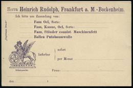 """Frankfurt A.Main-Bockenheim 1898 5 Pf. Amtl. Antwort-P """"Krone"""", Grün + Zudruck: Heinrich Rudolph GERMANONLINE / IMPERATO - Mitología"""