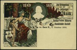 Gera 1899 (8.10.) PP 5 Pf. Krone, Grün: 50. Jubiläum Der Amthor'schen Höheren Handelslehr-Anstalt = Hermes Mit Schlangen - Mitología