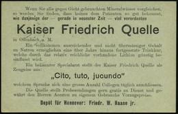 """HANNOVER/ *1cc 1900 (11.9.) 1K-Gitter Auf Orts-P 2 Pf. """"Reichspost"""", Grau + Rs. Zudruck: Kaiser Friedrich Quelle.. """"Cito - Other"""