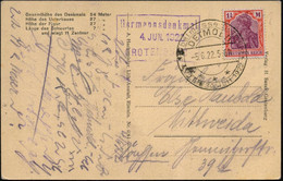 DETMOLD/ ***/ Möbelmesse 1922 (5.6.) HWSt + Viol. Ra3: Hermanndenkmal/..GROTENBURG Auf S/w.-Foto-Ak.: Hermann-Denkmal, B - Archaeology