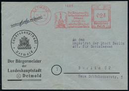 (21) DETMOLD/ Lippische/ Landesregierung.. 1946 (27.6.) Seltener, Aptierter AFS = Hakenkreuz U. Strahlen Entfernt = Notm - Archaeology