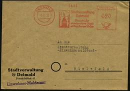 DETMOLD/ Stadtverwaltung/ Detmold.. 1953 (Feb.) AFS Ohne PLZ = Hermanns-Denkmal Zur Varus-Schlacht (9 N. Chr.) Klar Gest - Archaeology