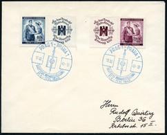 BÖHMEN & MÄHREN 1940 (17.11.) Blauer SSt: PRAG 1-PRAHA 1/DT.BUCHAUSST (Foliant M.Hakenkreuz-Rune U. German. Schwert) 2x  - Archaeology