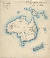 CARTE AUSTRALIE 1931 Dessinée Par écolier - Geographical Maps