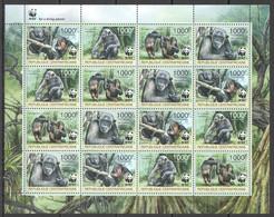 NW455 2012 CENTRAL AFRICA WWF MONKEYS PRIMATES ANIMALS #3682-3685 FULL SH MNH - Ungebraucht