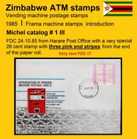 Zimbabwe ATM 1 / 00,26 With Three Pink End Strips On FDC Harare / Frama Automatenmarken No Rhino - Zimbabwe (1980-...)