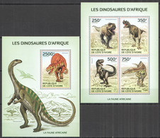 IC006 2014 IVORY COAST EMBOSSED AFRICAN FAUNA DINOSAURS REPTILES #1519-3 BL191 MNH - Preistorici