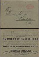 Germany - Reklame Werbepostkarte, Automobil - Ausstellung, SIECKE & SCHULTZ, Freistempel BERLIN 7.9.1921. - Covers & Documents